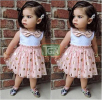 Girl lace dot gauze dress