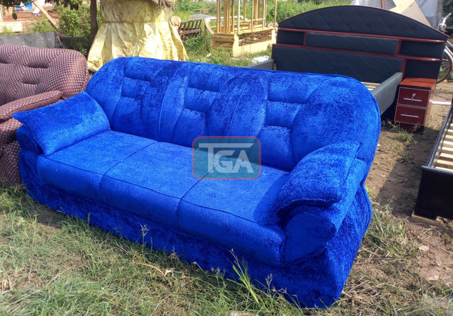 Blue Three Seater Couch - 1