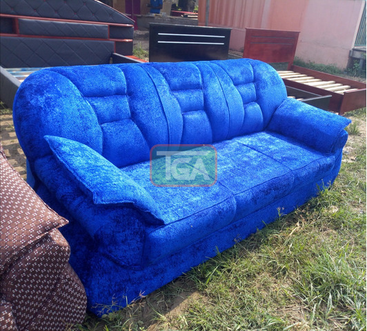 Blue Three Seater Couch - 2