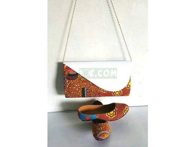 African Print Bag and Shoe - 1