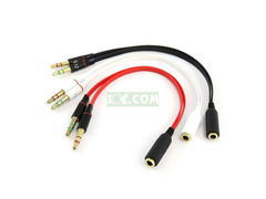 2pcs Computer Headset Combo Cable 2in-1out